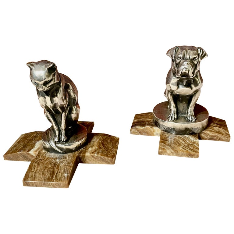 Max Le Verrier Bookends Statues of Dog and Cat French Art Deco For Sale