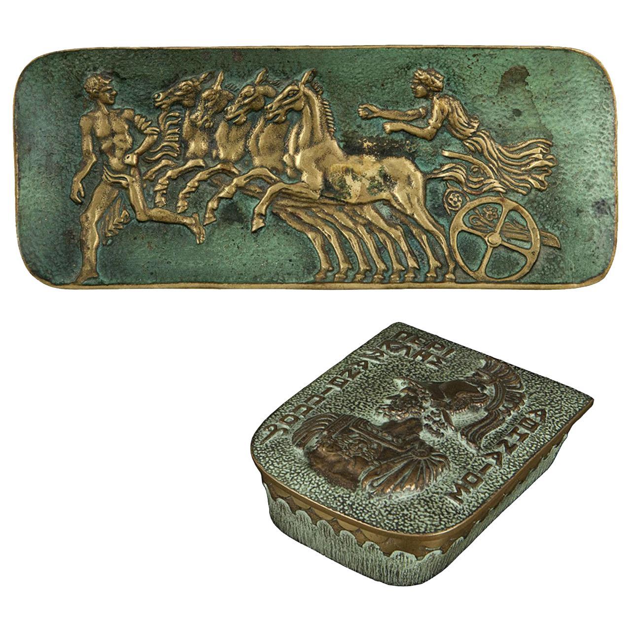 Max Le Verrier Bronze Desk Set, Videpoche and Box