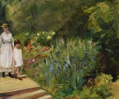 Enkelin und Kinderfrau im Nutzgarten by Max Liebermann - Impressionist artist