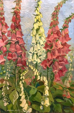 German Expressionist Floral Oil Painting Wild Foxglove Flower