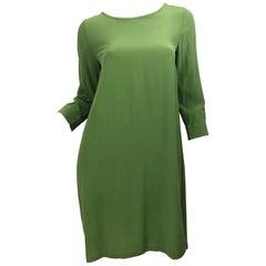 Max Mara 1990s Size 6 / 8 Olive / Avocado Green Silk Vintage 90s Tunic Dress