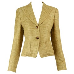 Max Mara Beige Silk Tweed Peaked Lapels Tailored Single Breasted Blazer Jacket