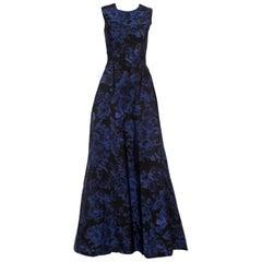 Max Mara Black and Blue Printed Sleeveless Acinoso Gown S