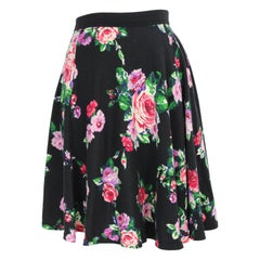 Max Mara Black Floral Wool Round Pleated Soft Skirt Red Flowers 1990s