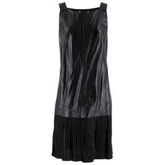 Max Mara Black Leather Pleated Sleeveless Dress 8 UK