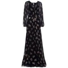 Max Mara Black Lurex Leaf Patterned Golena Maxi Dress S