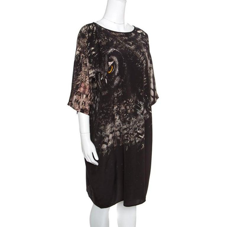 Max Mara Black Owl Printed Silk Oversized Bianca Dress L In Good Condition For Sale In Dubai, AE