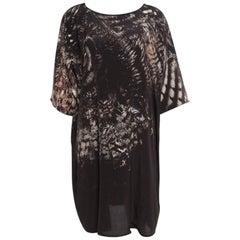 Max Mara Black Owl Printed Silk Oversized Bianca Dress L