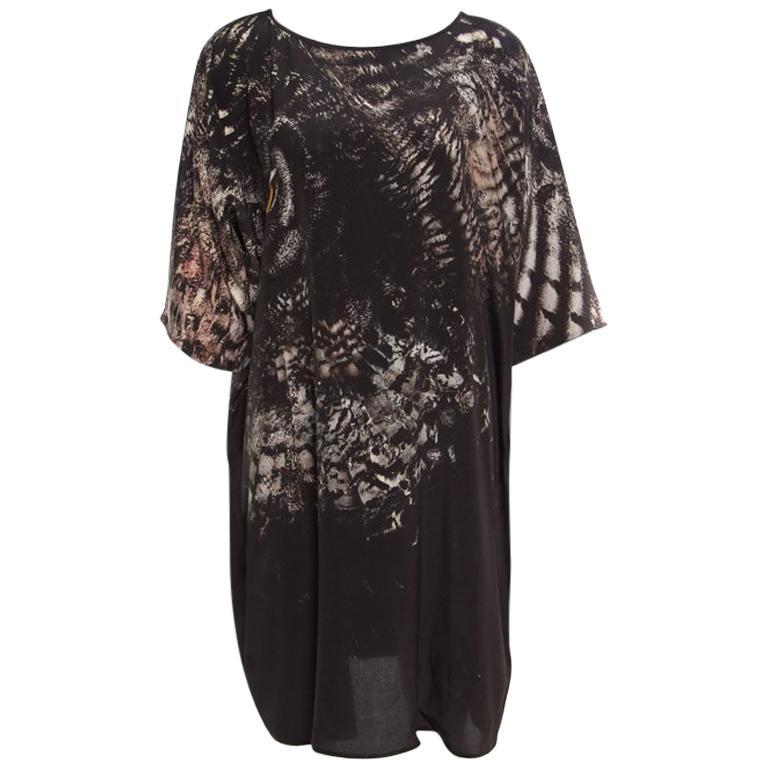 Max Mara Black Owl Printed Silk Oversized Bianca Dress L For Sale