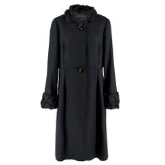 Max Mara Black Textured Ruffle Trim Coat 16 GB