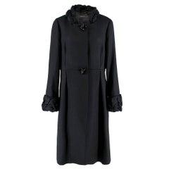 Max Mara Black Textured Ruffle Trim Coat UK 16