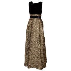 Max Mara Black Velvet & Embossed Lurex Jacquard Draped Dress S
