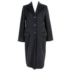 Max Mara Black Wool Long Classic Coat 1990s