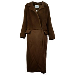 Max Mara Brown Combination Teddy Long Hooded Coat Sz 10