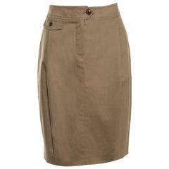 Max Mara Brown Cotton Pleat Front Pencil Skirt M