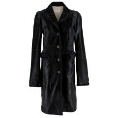 Max Mara Calf Hair Black Longline Coat IT 42