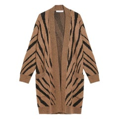 Max Mara Carlo Oversized Zebra-Intarsia Knitted Cardigan