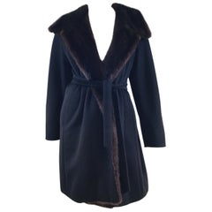 Max Mara Cashmere Blend Coat with Mink Fur Trim
