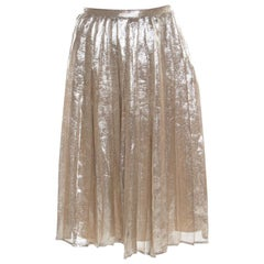 Max Mara Champagne Silver Pleated Silk and Lurex Faro Midi Skirt M