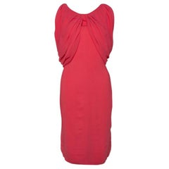 Max Mara Coral Pink Stretch Crepe Draped Sheath Dress L