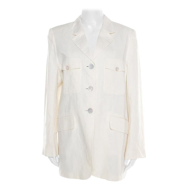 Max Mara Cream Linen Blazer L For Sale