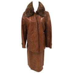 Max Mara Embossed  Leather Suit with  Zibeline Collar NWT Size 4 US