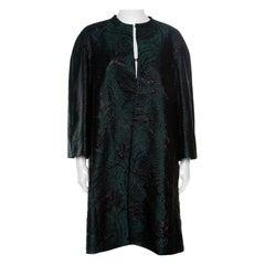Max Mara Green and Metallic Black Jacquard A Line Tabacco Long Coat M