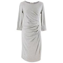 Max Mara Grey Ruched Midi Dress 42 IT