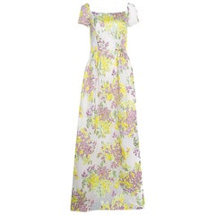 Max Mara Multicolor Floral Lurex Embossed Jacquard Danzica Maxi Dress M