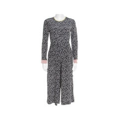 Max Mara Navy Blue Dot Printed Silk Long Sleeve Culotte Jumpsuit M