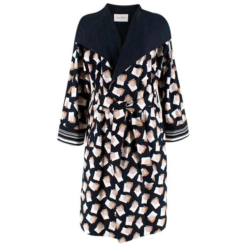 Max Mara Navy Cotton Wrap Coat with Abstract Print - Size US 8