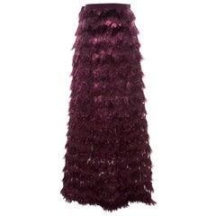 Max Mara Purple Metallic Jacquard Faux Feather Fringed Maxi Skirt S