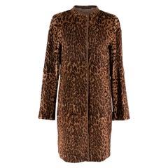 Max Mara Rabbit Fur Animal Print Coat 10 S