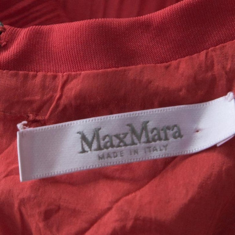 Max Mara Red Plisse Jersey Xiria Long Sleeve Midi Dress M For Sale 1