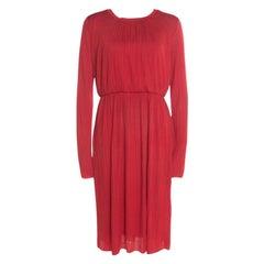 Max Mara Red Plisse Jersey Xiria Long Sleeve Midi Dress M