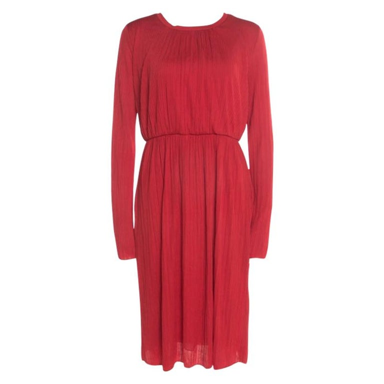 Max Mara Red Plisse Jersey Xiria Long Sleeve Midi Dress M For Sale