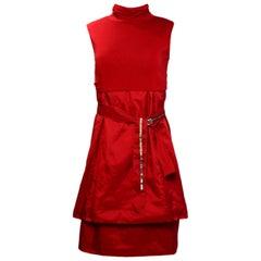 Max Mara Red Sleeveless Dress w/ Turtleneck Top sz Small