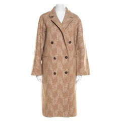 Max Mara Sfilata Brown Camel Hair Lace Embroidered Breasted Salice Overcoat S