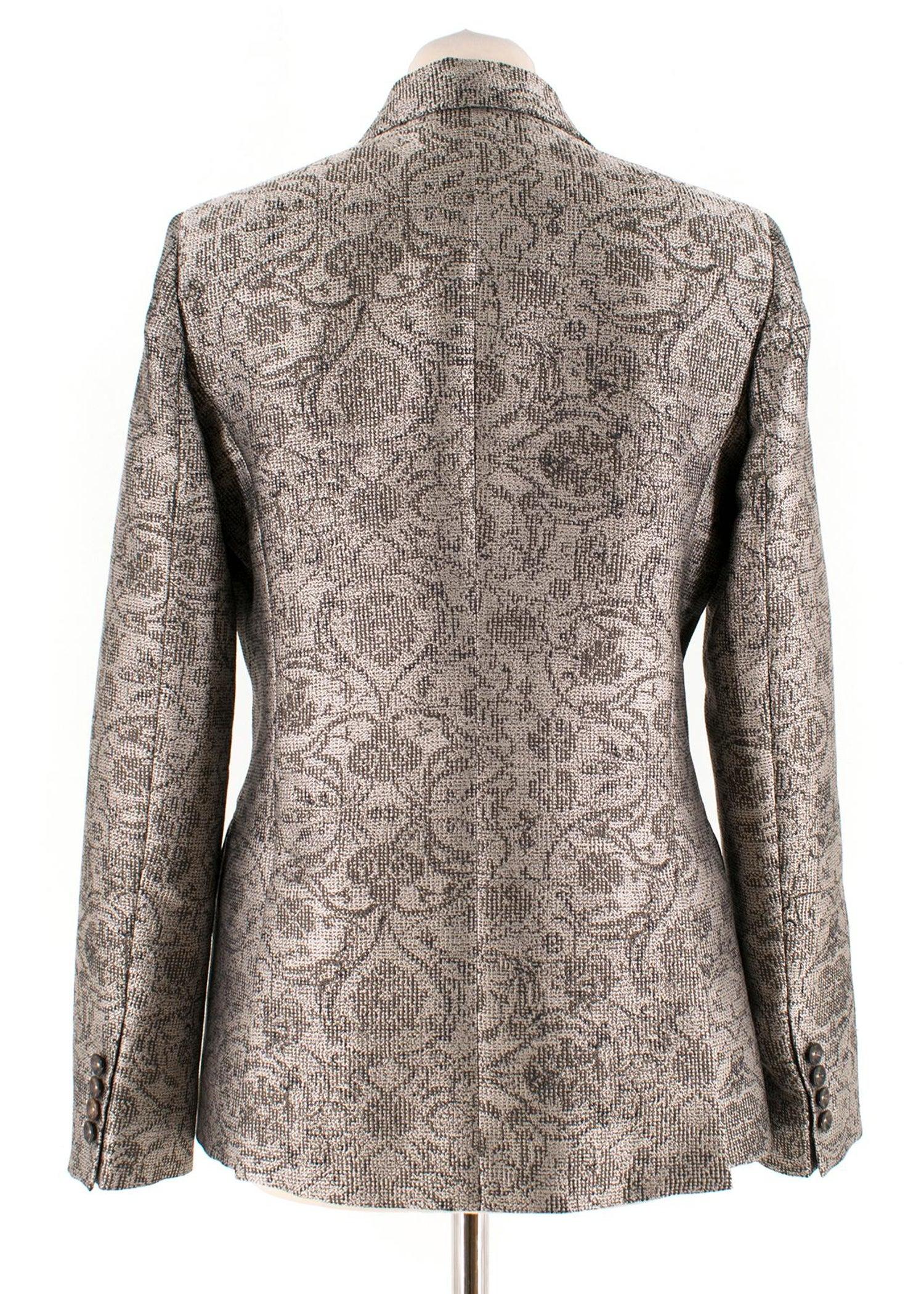 708ab2fe32ca1f Max Mara single-breasted baroque-jacquard jacket US 6 For Sale at 1stdibs