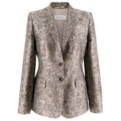 Max Mara single-breasted baroque-jacquard jacket US 6
