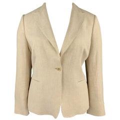 MAX MARA Size 16 Beige Linen Peak Lapel Blazer Jacket