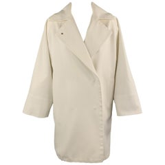 MAX MARA Size 2 White Cotton Hidden Snap Pointed Lapel Coat