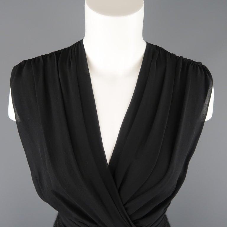 4f8de80a12d Women s MAX MARA Size 6 Black Draped Chiffon Top Sparkle Tweed Skirt Cocktail  Dress For Sale