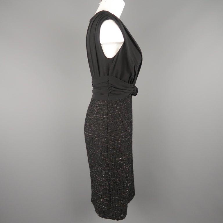 786fd9ffeef MAX MARA Size 6 Black Draped Chiffon Top Sparkle Tweed Skirt Cocktail Dress  For Sale 2