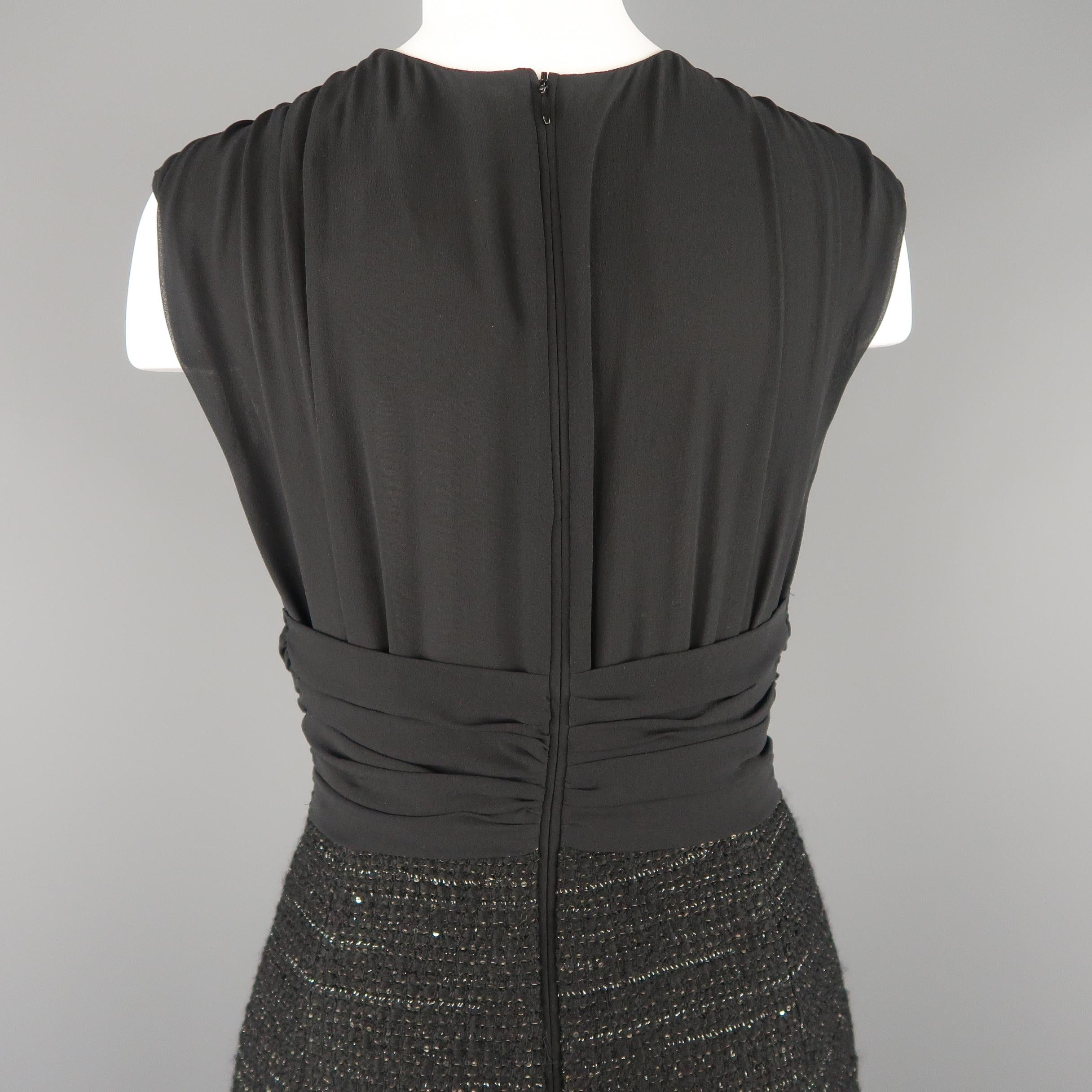 c4acc9fac63 MAX MARA Size 6 Black Draped Chiffon Top Sparkle Tweed Skirt Cocktail Dress  For Sale at 1stdibs