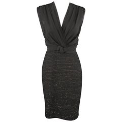 MAX MARA Size 6 Black Draped Chiffon Top Sparkle Tweed Skirt Cocktail Dress