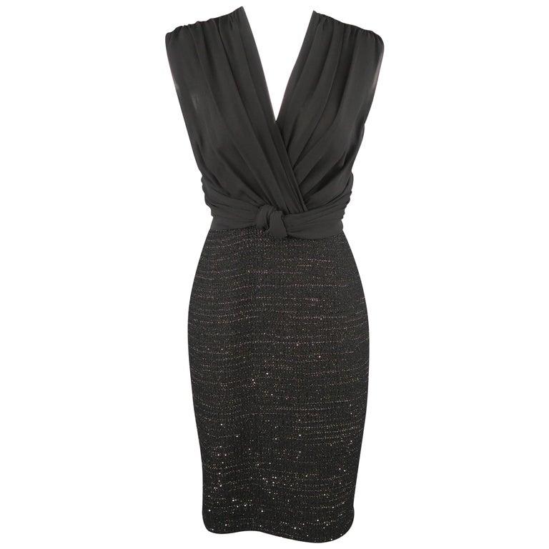 9e8224b3a57 MAX MARA Size 6 Black Draped Chiffon Top Sparkle Tweed Skirt Cocktail Dress  For Sale. MAX MARA cocktail dress features a pleated draped chiffon deep V  neck ...