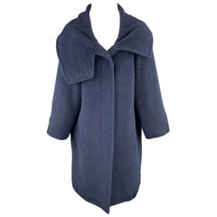 MAX MARA Size 8 Navy Alpaca / Vrgin Wool High Collar Coat