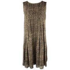 MAX MARA Size M Beige & Brown Silk Chiffon Pleated A Line Dress