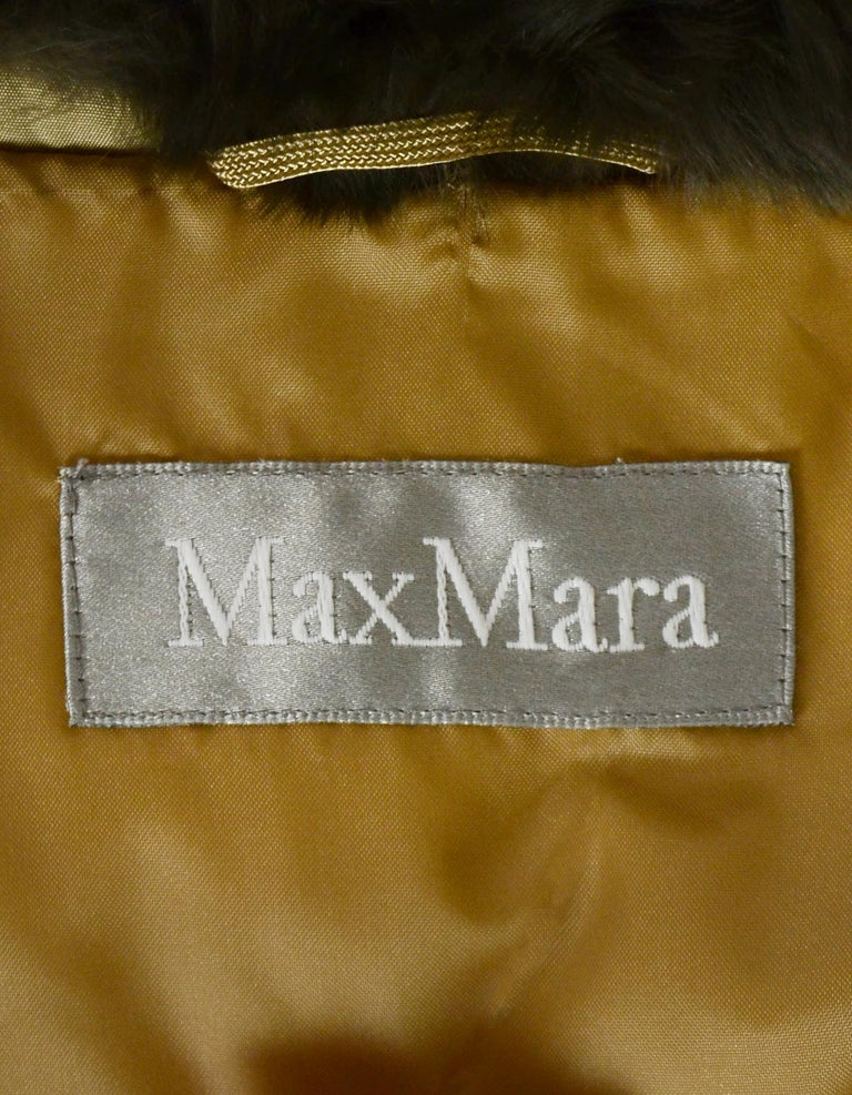 Max Mara Tan Puffer Jacket w/ Fur Collar sz 38 In Excellent Condition In New York, NY